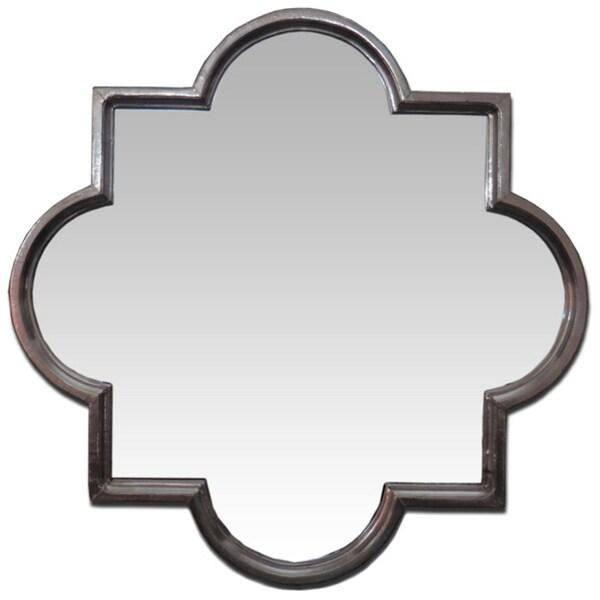 Silver Moroccan Quatrefoil 36-inch Mirror