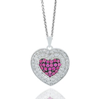 Sterling Silver Heart Pink Sapphire, 7/8ct TDW Diamond Pendant (H-I, I1-I2)