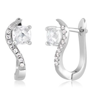 Sterling Silver Square-cut Cubic Zirconia Omega Earrings