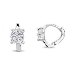Sterling Silver Cubic Zirconia Square Earrings
