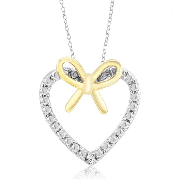 Sterling Silver Rhodium-plated CZ Heart Bow Pendant Necklace