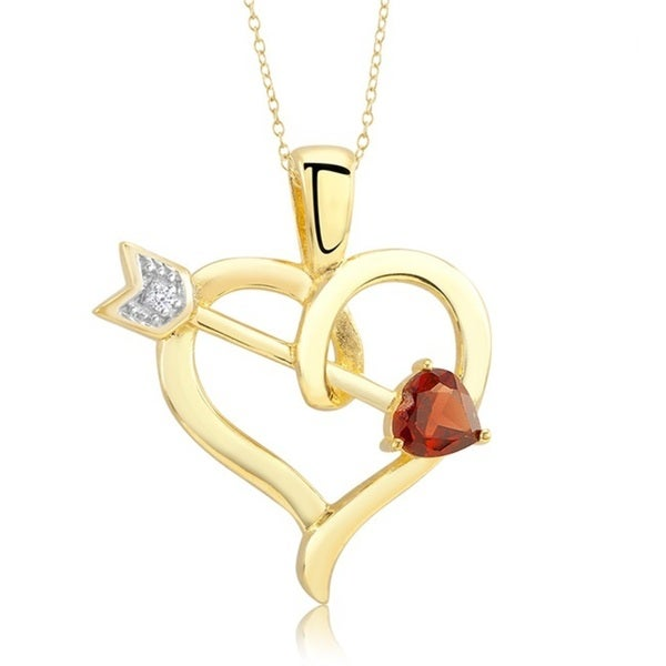 18k Gold-plated Open Heart with Cubic Zirconia and Garnet Cupid Arrow Necklace