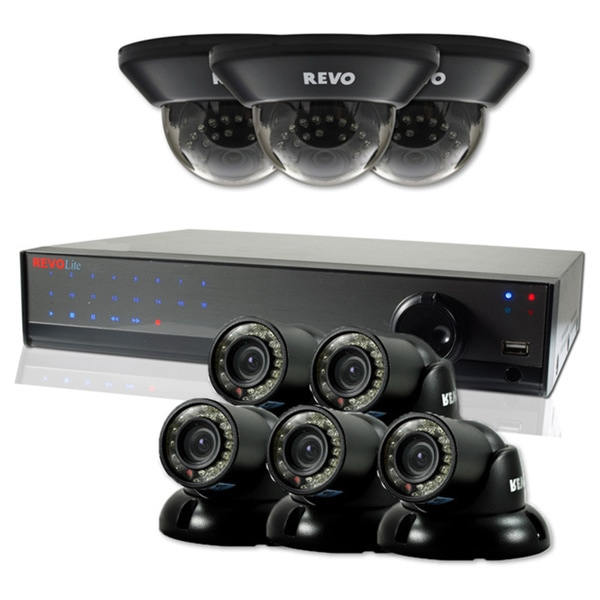 Revo Lite 16-channel 2TB 960H DVR Surveillance System with 5 Turret and 3 Dome 700TVL Cameras