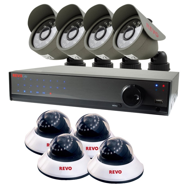 Revo Lite 16-channel 1TB DVR Surveillance System with 4 Bullet and 4 Dome 660TVL Cameras