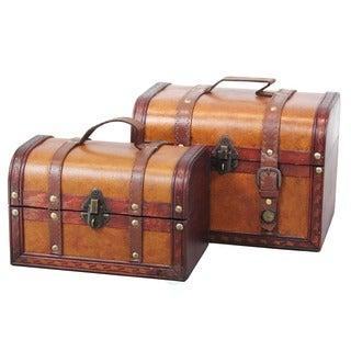 Decorative Leather Treasure Boxes (Set of 2)