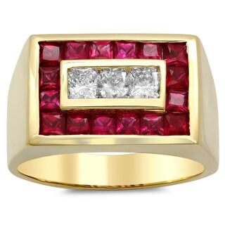 14k Gold Men's 4/5 ct TDW Diamond and 2 2/5 ct Ruby Ring (F-G, VS1-VS2)