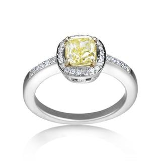 SummerRose Platinum/18k Gold 1 1/4ct TDW Yellow Diamond Ring (G-H, VS1-VS2)