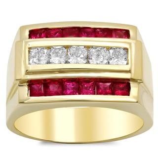 14k Gold Men's 1 1/5 ct TDW Diamond and 1 3/4 ct Ruby Ring (F-G, VS1-VS2)