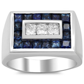 14k White Gold Men's 4/5 ct TDW Diamond and 2 5/8 ct Sapphire Ring (F-G, VS1-VS2)