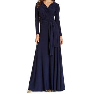 Von Ronen Women's Victoria Long Sleeve Convertible Front-to-Back Maxi Dress Cocktail Gown (One Size