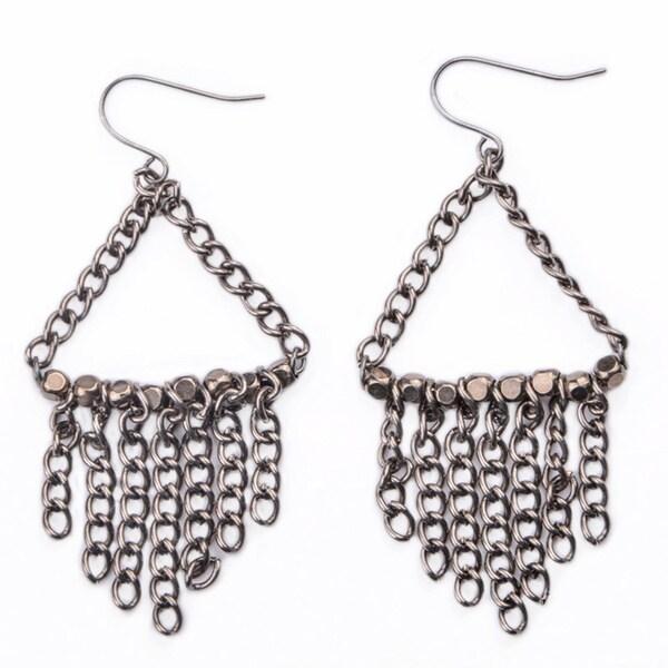 Gunmetal Chain Fringe Dangle Earrings (China)