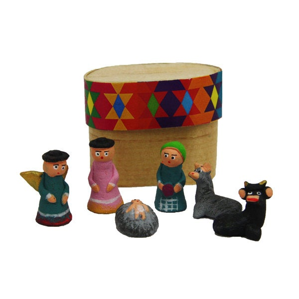 Boxed Clay Miniature Nacimento Nativity Set (Guatemala)