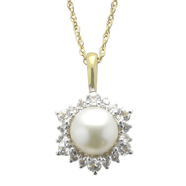 Pearls For You Gold over Silver White Freshwater Pearl and White Topaz Pendant (8-9 mm)