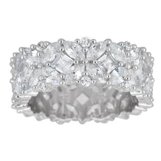 Sterling Silver Fancy Multi-cut Cubic Zirconia Eternity Ring