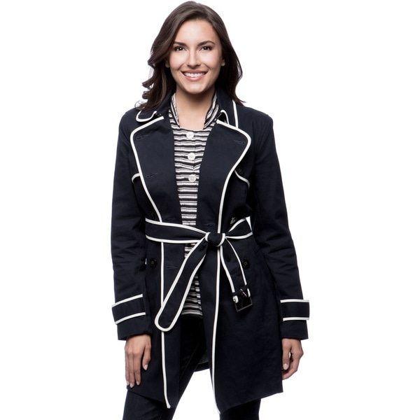 Tommy Hilfiger 35-inch Contrast Piping Double Breasted Trench Coat