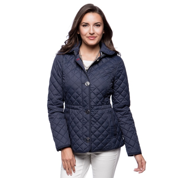 Tommy Hilfiger 26-inch Quilted Cinch Waist Detachable Hood Button Front Jacket