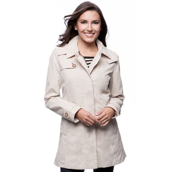 Tommy Hilfiger 31-inch Zip Front Covered Placket Detachable Hood Topper