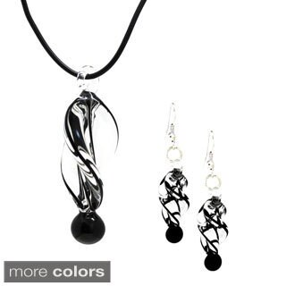 Bleek2Sheek Murano-inspired Twirl Glass Pendant and Earring Set