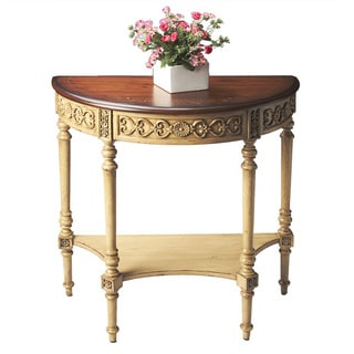 Hand-painted Pine 'N Cream Demilune Table