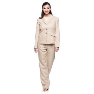 Evan Picone Women's Taupe Herringbone Jacket and Pant Set