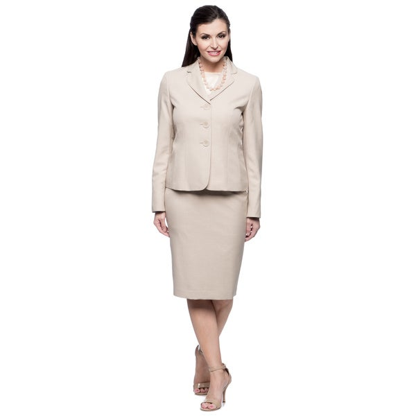 Evan Picone Women's Sand Melange Jacket and Skirt Set