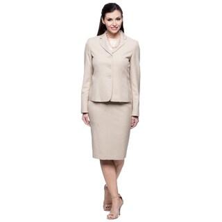 Evan Picone Women's Sand Melange Jacket and Skirt Set