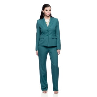 Evan Picone Women's Teal Peak Lapel Jacket and Pant Set