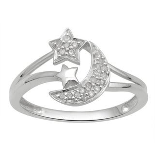 Sterling Silver 1/10ct TDW Diamond Celestial Star and Moon Ring (H-I, I2-I3)