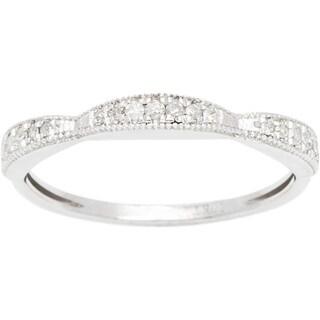 10k White Gold 1/5ct Milgrain Contoured Diamond Band (G-H, I1-I2)