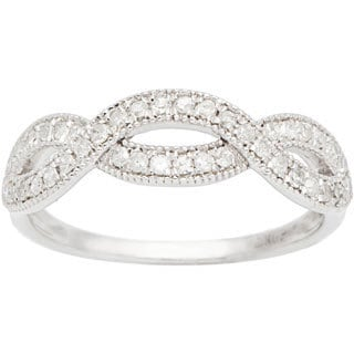 10k White Gold 1/3ct Milgrain Infinity Diamond Band (G-H, I1-I2)