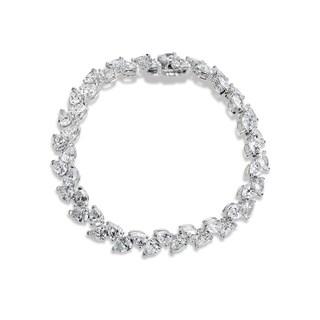 SummerRose 18k White Gold 18 7/8ct. Pear-cut Diamond Tennis Bracelet