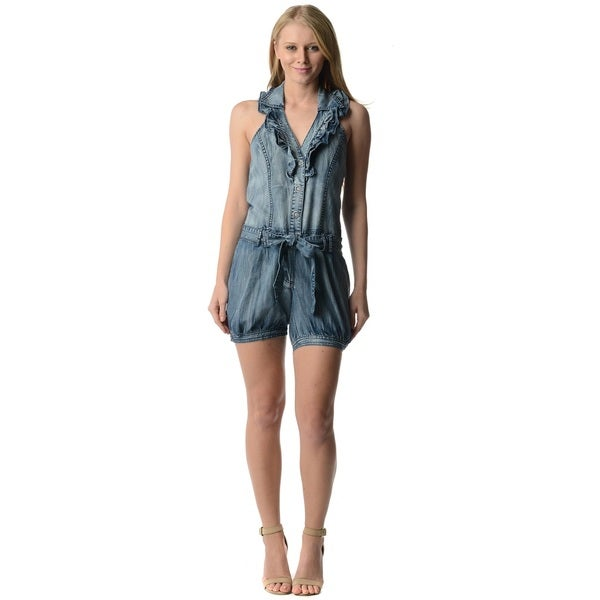 Women's Light Denim Ruffle Sleeveless Short Romper