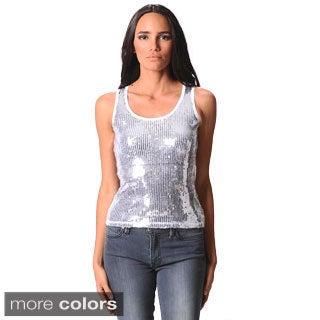 Sara Boo Women's Stylish Sequin Tank Top