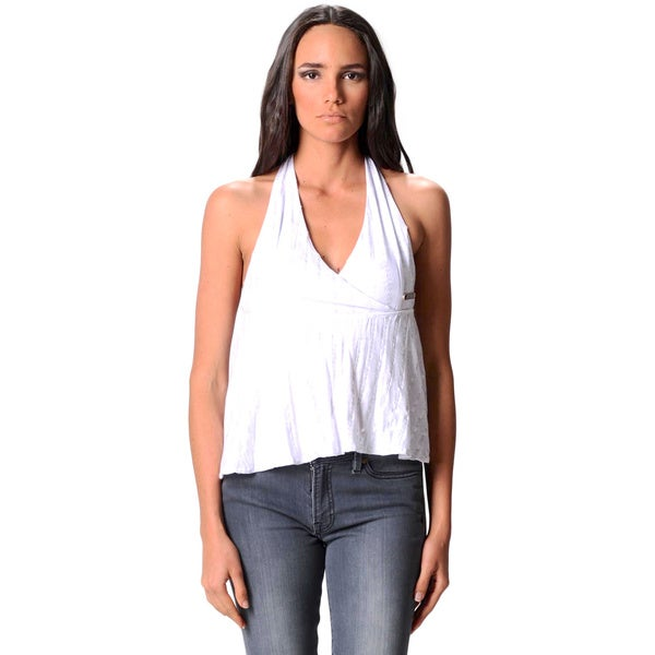 Sara Boo Women's White Halter Tank Top