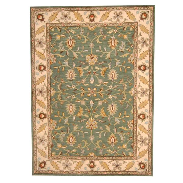 Hand Knotted Persian Isfahan Wool Area Rug: Herat Oriental Indo Hand-tufted Persian Isfahan Design