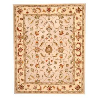 Herat Oriental Indo Hand-tufted Persian Isfahan Design Beige/ Ivory Wool Rug (8' x 10')