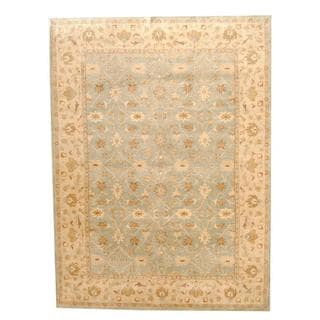 Herat Oriental Indo Hand-tufted Persian Isfahan Design Light Blue/ Beige Wool Rug (9' x 12')