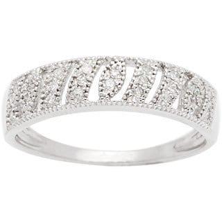 10k White Gold 1/5ct TDW Diamond Vintage Style Wedding Band (G-H, I1-I2)