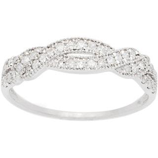 10k White Gold 1/3ct TDW Pave Diamond Bypass Ring (G-H, I1-I2)