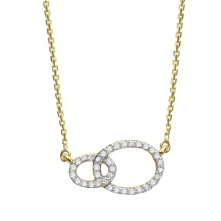 Beverly Hills Charm 10k Gold 1/8ct TDW 'Together Forever' Interwined Ellipse Diamond Necklace (H-I, I2-I3)