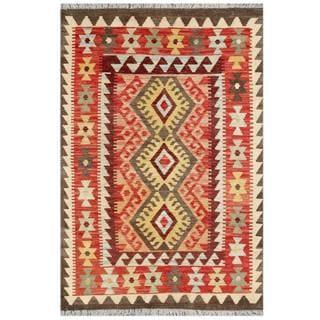Herat Oriental Afghan Hand-woven Tribal Kilim Red/ Burgundy Wool Rug (3'3 x 4'11)