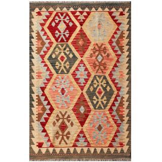 Herat Oriental Afghan Hand-woven Tribal Kilim Red/ Beige Wool Rug (3'4 x 5'2)