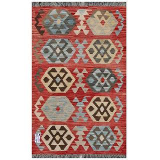 Herat Oriental Afghan Hand-woven Tribal Kilim Red/ Gray Wool Rug (3'1 x 4'10)
