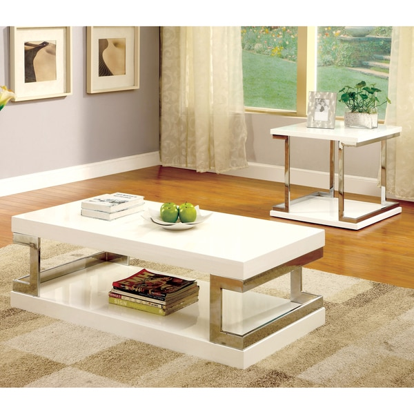 Furniture of america lolie 2 piece white gloss accent for Furniture of america inomata geometric high gloss coffee table