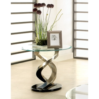 Furniture of America Helena Modern Satin Plated End Table