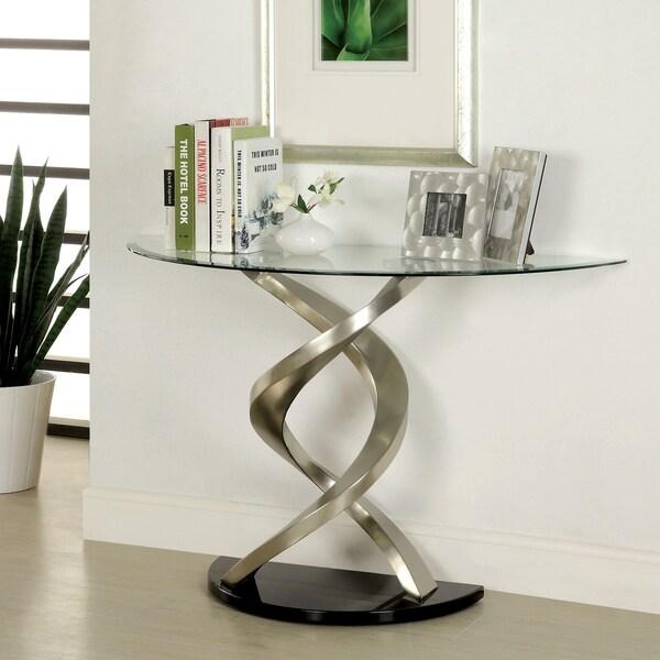 Modesto Glass Coffee Table Furniture of America Helena Modern Satin Plated Sofa Table - 17075839 ...