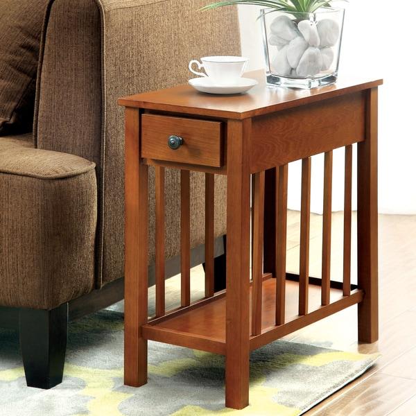 Furniture of America Alissa Dark Oak Side Table