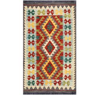 Herat Oriental Afghan Hand-woven Tribal Kilim Rust/ Light Blue Wool Rug (2'6 x 4'2)