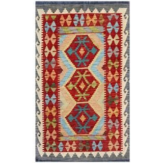Herat Oriental Afghan Hand-woven Tribal Kilim Red/ Ivory Wool Rug (2'7 x 4'3)