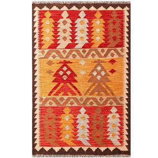 Herat Oriental Afghan Hand-woven Tribal Kilim Gold/ Ivory Wool Rug (3'2 x 4'10)